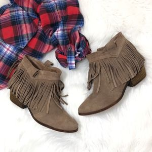 Restricted Taupe Fringe Suede Booties
